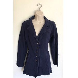 Soft Surroundings Navy Cotton Blazer